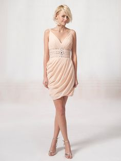 V Neck Dress with Beaded Waistband $169.99 cute for rehearsal