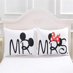 Mickey Mouse Minnie Mr Mrs Pillowcases Home Textile White Couple Pillow Cover Decorative Pillows Case Living Room Living Room Decor Pillows, Decor Home Living Room, Home And Living, Mickey Minnie Mouse, Disney Mickey, Casa Disney, Wedding Bed, Bedclothes, Body Pillow Covers
