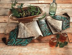 Turquoise Leather & Brindle Table Runner with Turquoise Stones - 12 x 54