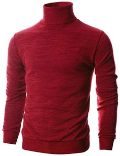 Ohoo Mens Slim Fit Long Sleeve Turtleneck Mixed Ribbed Hem Pullover Sweater 331cff555a13