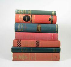 Pink Salmon Teal Decorative Vintage Books.......fabulous