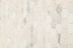 "Marble Mosaic - Carrara Marble Series - Arabescato Carrara Hexagon / 1"" / Honed"