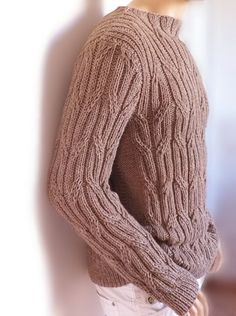 Hand knit mens sweater Mens sweater Cable knit sweater Gift for him Hand knit Pullover gift for men SAMPLE SALE Only 1 available with this price.  Knitted with soft Alpaca-Wool mix yarn with very flexible cabled pattern. It has great natural stretch and will adjust to chest measure from 39.5-44 (101-112cm) easily. Color: Camel Beige, Beige Size M-L Length from neckline to bottom: approx. 27/27.5 (68-70cm) Shoulder across: 19.6(50cm)  Ready to ship in next working day from purchase.