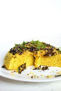 khaman dhokla - savory steamed chickpea flour cake, gluten free & vegan