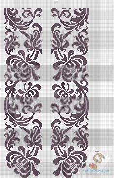 Beading _ Pattern - Motif / Earrings / Band ___ Square Sttich or Bead Loomwork ___ Filet Crochet, Crochet Borders, Cross Stitch Borders, Crochet Diagram, Cross Stitch Charts, Cross Stitch Designs, Cross Stitching, Cross Stitch Embroidery, Embroidery Patterns