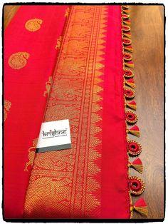 Bridal Saree Kuchu Design saridress Krishne's customised saree pallu designs ar… Saree Kuchu New Designs, Saree Tassels Designs, Pattu Saree Blouse Designs, Bridal Blouse Designs, Designer Blouse Patterns, Latest Sarees, Indian Fashion, Fashion Ideas, Hand Designs