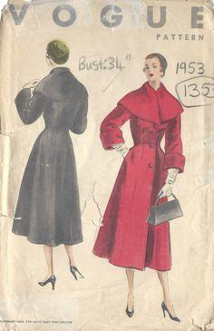 1953 Vintage VOGUE Sewing Pattern B34 COAT 1353 Vogue 8090