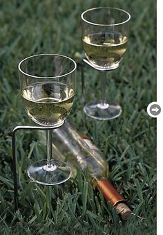 Crate and Barrel wine stakes! Great for that backyard BBQ or camping weekend this summer!