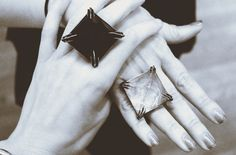 /bloodmilk : crystal and obsidian tomb rings