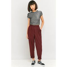 Urban Renewal Vintage Remnants Maroon Wool Trousers (£46) ❤ liked on Polyvore featuring pants, maroon, high waisted pleated pants, wool trousers, woven pants, high-waisted trousers and high waisted pants