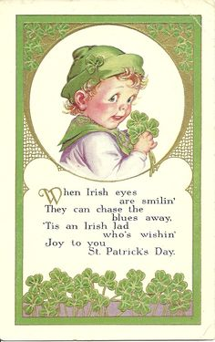 I love these! This page has this boy, a baby, and a woman doing the jig, all vintage post cards!  Hudson's Holidays - Designer Shirley Hudson: Happy St. Patrick's day...Irish eyes