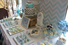 Chevron and Blue Elephant Baptism Party Ideas | Photo 1 of 15 | Catch My Party