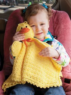 Travel Buddy Blankie Crochet Pattern Download from e-PatternsCentral.com -- Long trips will be more fun for your little one with a cuddly, travel-size animal blanket to take along.
