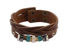 Speciaal voor 5 december! Leuke schoenkadootjes. Unieke sieraden vanaf € 7,50. - Bruin gevlochten leren armband met stoere houten kraal