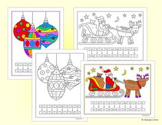 Fun Christmas activities for practicing German numbers and colors vocabulary. The completed pictures make a colorful wall display.