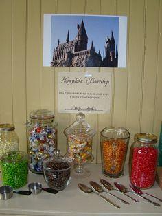 Honeydukes Sweetshop - chocolate frogs, Bertie Bott's Beans, licorice wands, pumpkin pasties, cauldron cakes, etc.