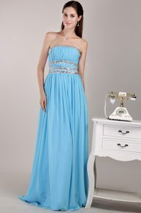 Discount Strapless Floor-length Chiffon Prom Party Dress in Aqua Blue Cheap  Evening Dresses bf4357349ae6