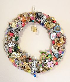 Handmade Vintage Jewelry Wreath Spring or by SweetLenasRetro, #vjse2 #boebot #etsybot2 #vintage #jewelry $209.00