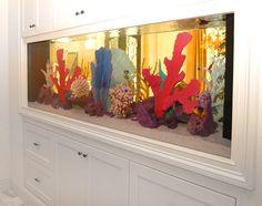 Built-in aquarium for boys room Fish Aquarium Decorations, Wall Aquarium, Home Aquarium, Aquarium Design, Unique Fish Tanks, Custom Bookshelves, Amazing Aquariums, Long Room, Saltwater Tank