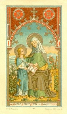 O Bonne Sainte Anne de Beaupré, P.A century Belgian devotional image, made for export to Canada to be sold at the famous shrine of Saint Anne of Beaupré near Quebec.The French text reads: O good Saint Anne of Beaupré, pray for us Catholic Books, Catholic Prayers, Catholic Saints, Roman Catholic, St Anne, Saint Joachim, Vintage Holy Cards, Religion Catolica, Joseph