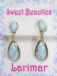 Larimar ~ Caribbean Blue Sterling Silver Earrings ~ Caribbeans Scarcest Gemstone - FREE SHIPPING by FindMeTreasures on Etsy