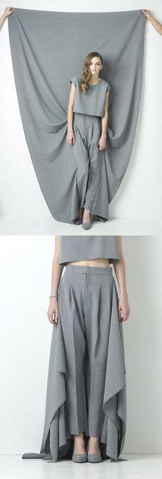 Natsumi Zama. Gray Peg-top Trousers