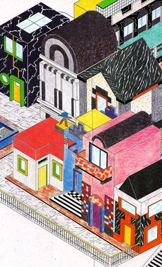 Drawing of Architecture by George Sowden, 1984 #illustration