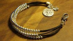 Silver Beaded Leather Layers Bracelet Western by fleurdesignz, $28.00