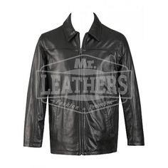 Black Leather Coat With Front Full Zip Closure