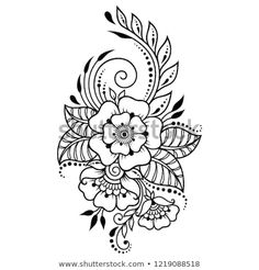 8f129c305 Mehndi flower pattern in frame for Henna drawing and tattoo. Decoration in  ethnic oriental, Indian style.