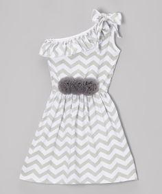 Gray & White Zigzag Asymmetrical Dress