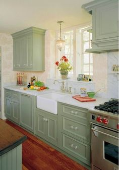 Green Kitchen Ideas, More: Sage Green Kitchen Cabinets, Green Kitchen Cabinets Painted, Green Kitchen Ideas Decor, Small. Cottage Kitchen Cabinets, Small Cottage Kitchen, Kitchen Cabinet Colors, Kitchen Redo, New Kitchen, Kitchen Walls, Kitchen Rustic, Kitchen Country, Glass Kitchen
