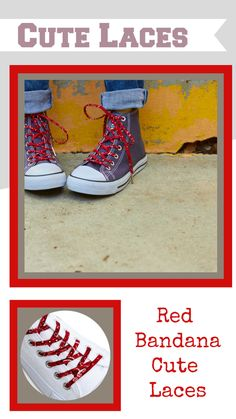 Add a little flare to any outfit with our fun funky shoelaces! they are a perfect last minute stocking stuffer and we carry them in a variety of lengths for different shoe sizes! Tween Gifts, Gifts For Kids, Red Bandana Shoes, Converse Hightops, High Top Chucks, Handmade Gifts For Her, Gifts Under 10, Secret Santa Gifts, Red Gifts
