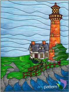Brick Lighthouse - 18 x 24 – anypattern.com stained glass pattern