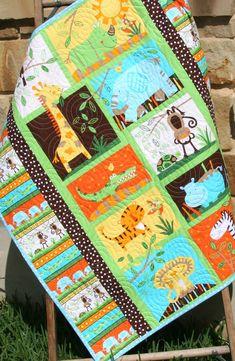 Jungle Baby Quilt, Gender Neutral Crib Bedding, Boy or Girl, Safari Animals, Monkey Giraffe Zebra Lion Tiger Elephant, Orange