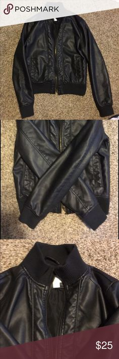 """Black """"leather"""" jacket. Make me an offer!! Very cute black jacket. Worn a handful of times. Will never fit again after having little one! Xhilaration Jackets & Coats"""