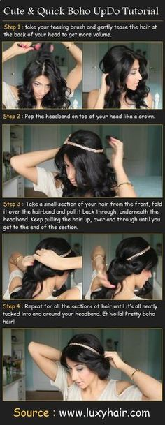 Cute  Quick Boho UpDo. Looks so much like Whitneys prom hair or a Disney princess.