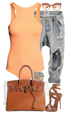 """""""Saturday Style"""" by highfashionfiles ❤ liked on Polyvore featuring H&M, Hermès, Giuseppe Zanotti and River Island"""
