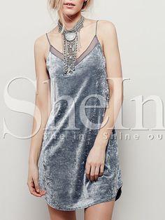 Sliver Grey Backless Contrast Mesh Cami Dress 10.99