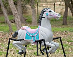 Rocking Horse Refurbish - I found a mini version of this at Goodwill that plays music and I'm going to paint in these bright colors!