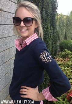 Marley Lilly Monogrammed Ladies Long Sleeve V-Neck Sweaters Preppy Girl, Preppy Style, Style Me, Marley Lilly, Fashion Mode, Fashion Basics, Textiles, Looks Style, Passion For Fashion