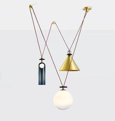 Ladies & Gentlemen Studio | Shape Up 3-Piece Chandelier (Brushed brass cone)