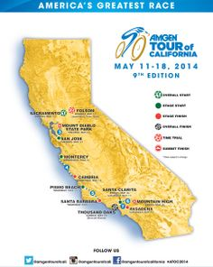 Amgen Tour of California Host Cities Map #amgen #atoc #pismobeach
