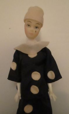 Tristan Doll dressed as Pierrot  made by Satin House Cosmetics New Zealand