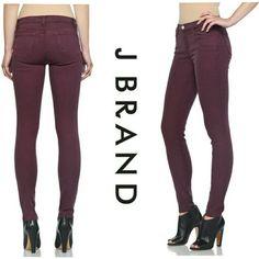 ⭐️NEW LISTING⭐️J Brand super skinny jeans- lavish Very flattering jeans in a beautiful, rich merlot color. J Brand Jeans Skinny