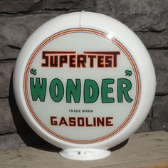 """Supertest """"Wonder"""" Gasoline - 13.5"""" Gas Pump Globe - Made by Pogo's Garage"""