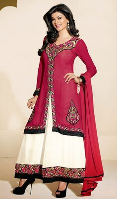 Look more than enchanting and adorable similar like Sushmita Sen dressed up in this cream and fuchsia georgette Anarkali suit. The brilliant dress creates a dramatic canvas with astounding lace, patch and resham work. #NewBollyWoodDressCollection