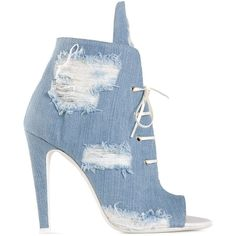 Off-White distressed denim lace-up booties (€350) ❤ liked on Polyvore featuring shoes, boots, ankle booties, blue, booties, heels, lace up booties, laced up boots, heel boots and laced up booties