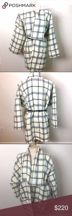 Lillunn of Norway Ivory Plaid Open Coat with Belt Simply Beautiful Coat. 100% Wool! 😍 It is a size M-L. I am throwing in the belt because it Looks so good with the coat. The belt is Leather from White House   Black Market. lillunn norway Jackets & Coats Capes