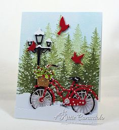 Come see how I made this snowy Chritmas card.